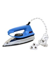 Blue White Electric Iron With Long Cord - Stand Max