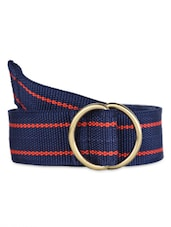 Red Striped Blue Canvas Belt With Metallic Loop - Moac