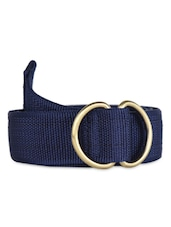 Blue Canvas Belt With Metallic Loop - Moac