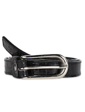 Slim Black Belt With Metallic Buckle - Moac