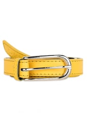 Slim Yellow Belt With Metallic Buckle - Moac