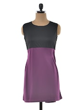 Color Block Sleevless Round Neck Dress - Klick2Style