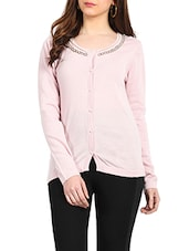 Light Pink Colour Merino Wool Cardigan - Northern Lights