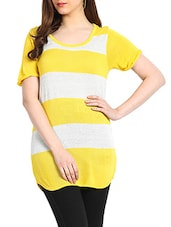Yellow & Off White Colour Viscose & Lurex Sweater - Northern Lights