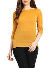 Orange & Gold Colour Viscose & Lurex Top - Northern Lights
