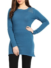 Blue & Lace Fabric Colour Merino Wool Dress - Northern Lights