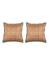 Notation Printed Tussar Silk Cushion Covers (Set Of 2) - SEJ By Nisha Gupta