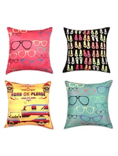 Quirky Digital Print Cushion Covers(Set Of 4) - SEJ By Nisha Gupta - 990722