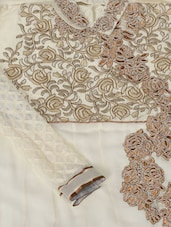 Cream And Copper Semi-Stitched Zari Suit Set - VarEesha