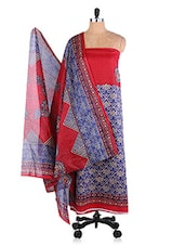 Blue & Red Printed Suit Set - Ethnic Vibe