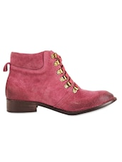 Burgundy Suede Faux Lace-Up Ankle Boots - Zeta