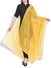 Yellow Chanderi Hand Block Printed Paisley Dupatta - By