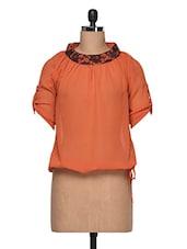 Orange Round Neck Top - Anshi