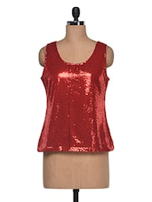Red Round Neck Top - Anshi