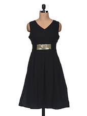 Black  Sleeveless V Neck Embellised Dress - Anshi