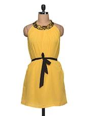 Yellow  With Black Waist Belt Dress - Anshi