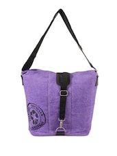 Purple Jute Cotton Messenger Bag