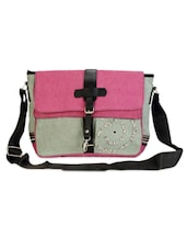 Multicolor Jute Cotton Color Block Messenger Bag