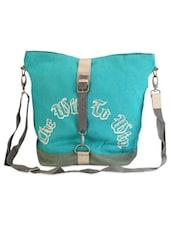 Green Jute Cotton Quotes Messenger Bag - THE JUTE SHOP