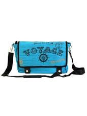 Blue Jute Cotton Travel Messenger Bag - THE JUTE SHOP