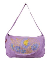 Multicolor Cotton Floral Embroidered Sling Bag - THE JUTE SHOP