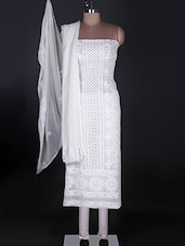 Pure Georgette White Chikankari Unstitched Suit - Ada