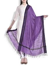 Purple Silk Dupatta With Temple Border - By