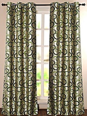 Green Geometric Printed Polyester Door Curtain - Deco Essential