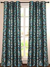 Blue Geometric Printed Polyester Door Curtain - Deco Essential