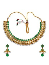 Fabulous Green Indian Ethnic Choker Set With Earrings - Maayra