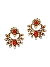 Class Red Gold Kundan Drop Earrings - Maayra