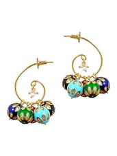Match With Dress Multicolour Indian Ethnic Drop Earrings - Maayra