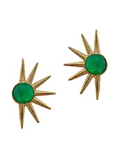 Bright Green Star Shaped Drop Earrings - Maayra
