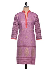 Purple Printed Cotton Kurta - NAVRITI