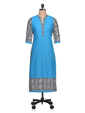 Blue Geometric Printed Cotton Kurta - NAVRITI