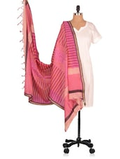 Hand Block  Printed  Chanderi  Dupatta - Geeta Creation - 994172