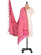 Hand Block  Printed  Chanderi  Dupatta - Geeta Creation