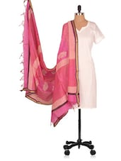 Hand Block  Printed  Chanderi  Dupatta - Geeta Creation - 994176