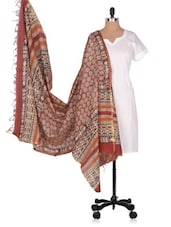 Hand Block  Printed  Chanderi  Dupatta - Geeta Creation - 994184