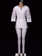 White Chikankari Cotton Top - Ada - 994322