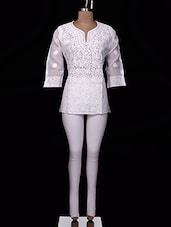White Chikankari Cotton Top - Ada - 994324