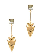 Ice Blue Stone Studded Arrowhead Drop Earrings - By