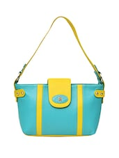 Yellow & Blue Genuine Leather Handbag - By