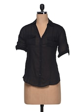 Black Cotton Button-up Top - London Off