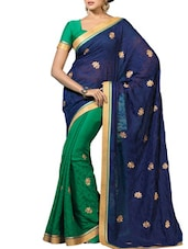 Green & Navy Blue Satin Embroidered Saree - By