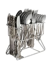 Checks Patterned Stainless Steel Cutlery Set With Stand - Dinette