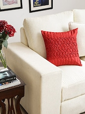 Red Polyester Set Of 2 Cushion Cover - By