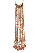 Gold,coral Metal Alloy,beads Long  Necklace - By