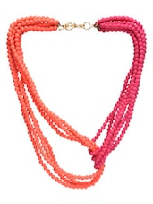 Orange,pink Metal Alloy,beads Short  Necklace - By