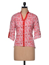 Floral Print Mandarin Collar Cotton Top - Meee!